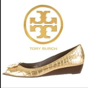 Tory Burch Gold Peep Toe Low Wedge Reva